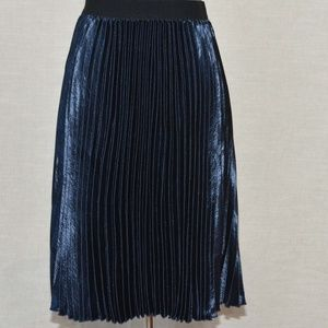 Louche Accordion Pleated Satin Skirt In Navy